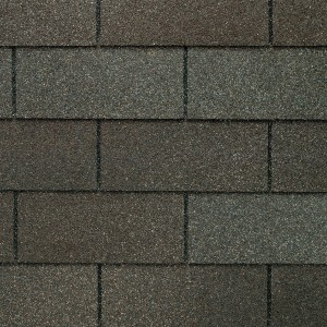 Close up photo of GAF's Marquis WeatherMax Weathered Gray shingle swatch